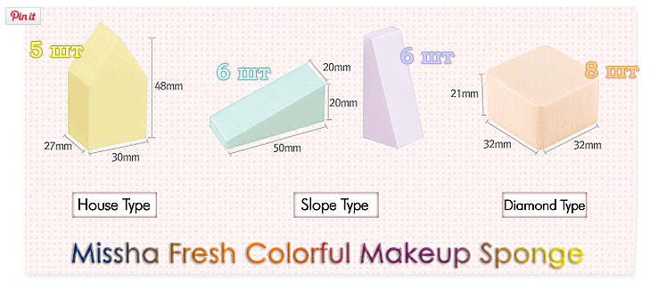 Fresh Colorful Makeup Sponge [Missha]-min