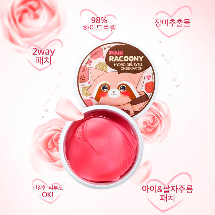 pink racoony hydro gel eye cheek patch-min