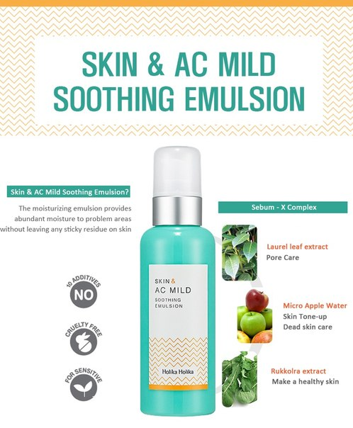 Skin & AC Mild Soothing Emulsion [Holika Holika]