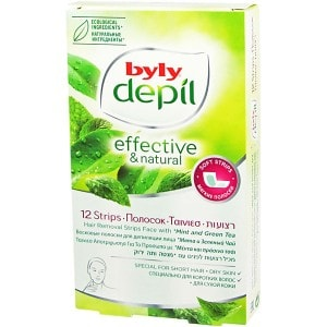 Hair Removal Strips Face Mint and Green Tea [Byly Depil]